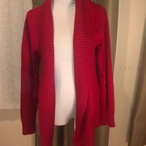 LL Bean Red Cardigan Sweater S Open Front